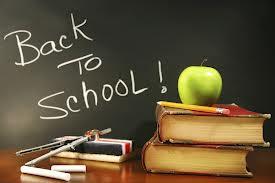 "Blackboard sign reading ""Back to school"""